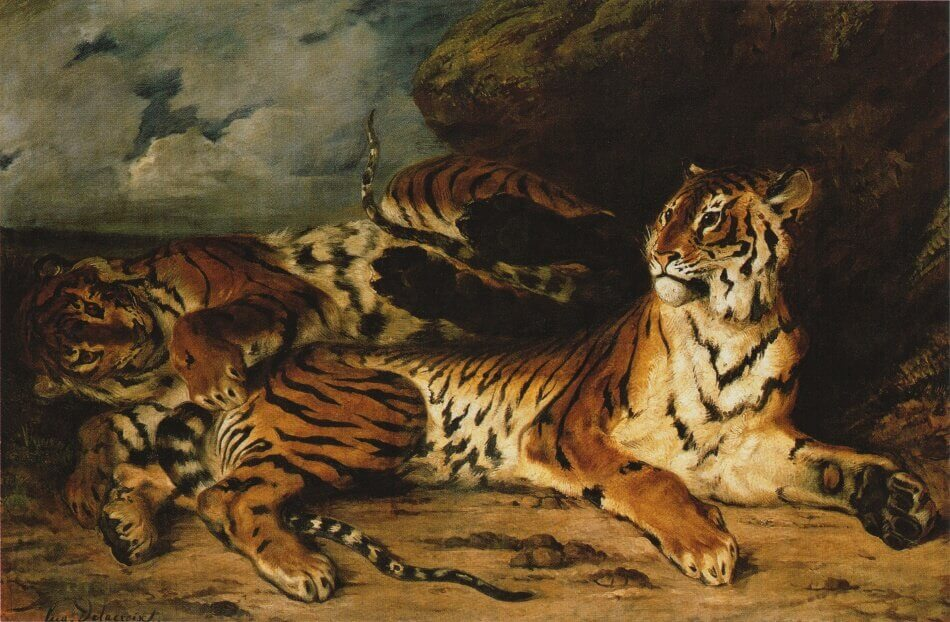 A Young Tiger Playing with its Mother by Eugene Delacroix