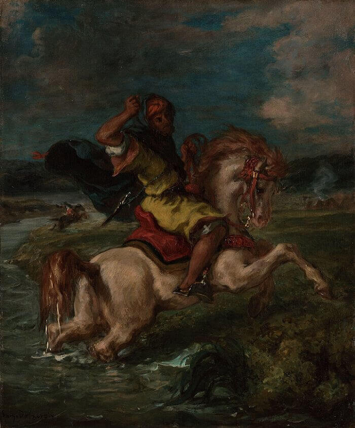 Moroccan Horseman Crossing a Ford by Eugene Delacroix